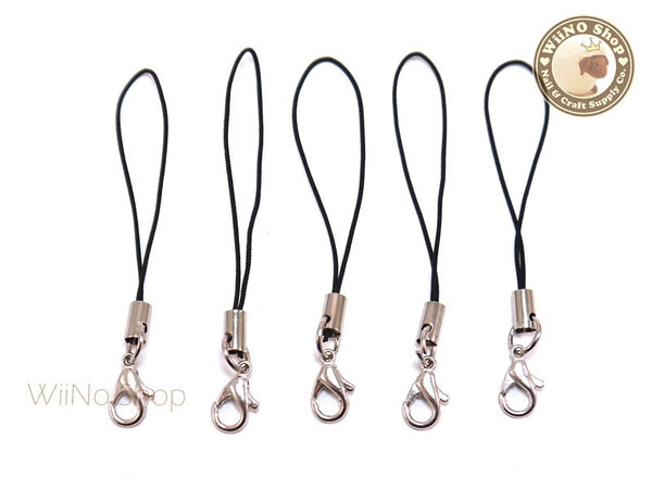 Black Strap Cell Phone Strap with Silver Lobster Clasp - 5 pcs