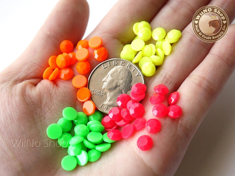6mm Neon Round Flat Back Acrylic Rhinestone - 100 pcs (choice of 4 colors)