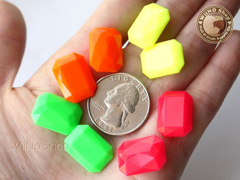 18 x 13mm Neon Octagon 3D Point Back Acrylic Rhinestone - 4 pcs (choice of 4 colors)