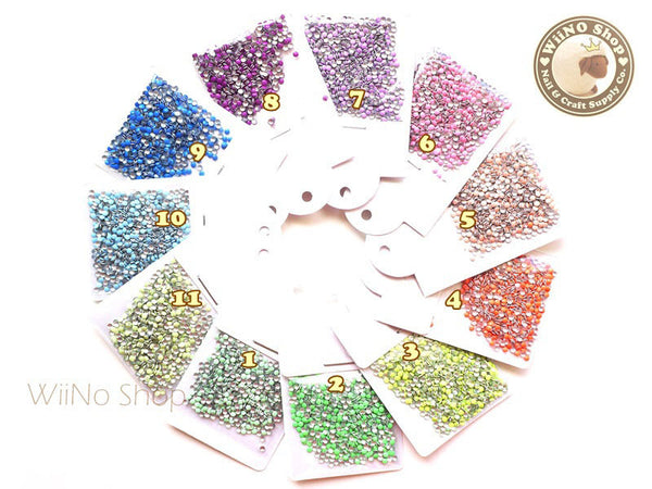 2mm Round Metal Studs Nail Art - 100 pcs  (choice of 11 colors)