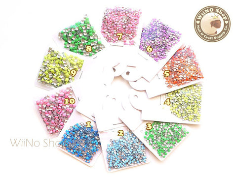 2mm 3mm Square Metal Studs  - 100 pcs  (choice of 10 colors)