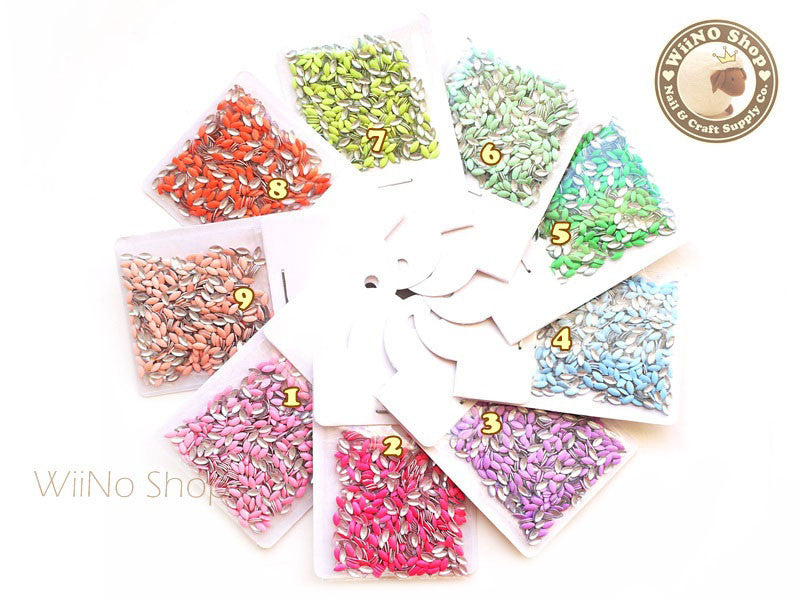 1.5 x 3.5mm Navette Marquise Metal Studs - 100 pcs (choice of 9 colors)