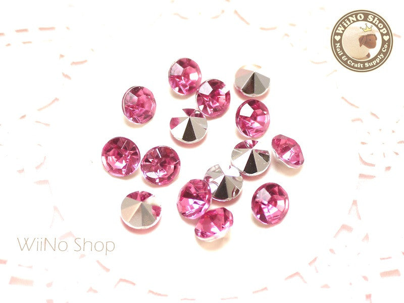 8mm Pink Rose Round Diamond Style 3D Point Back Acrylic Rhinestone - 15 pcs