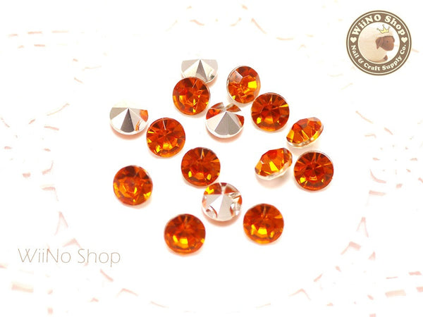 8mm Orange Fireopal Round Diamond Style 3D Point Back Acrylic Rhinestone - 15 pcs