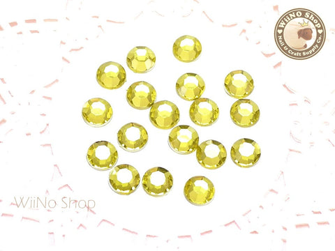 8mm Light Yellow Citrine Round Flatback Acrylic Rhinestone - 50 pcs