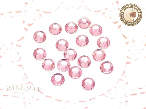 8mm Pink Light Rose Round Flatback Acrylic Rhinestone - 50 pcs