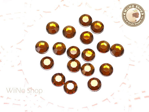 8mm Brown Smoked Topaz Round Flatback Acrylic Rhinestone - 50 pcs