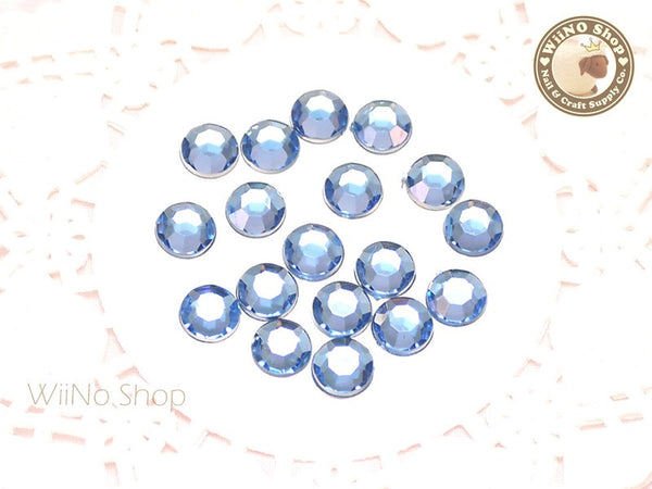 8mm Light Sapphire Blue Round Flatback Acrylic Rhinestone - 50 pcs
