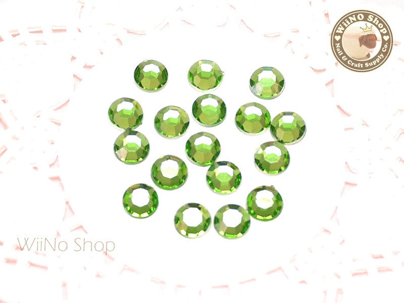8mm Light Green Perdot Round Flatback Acrylic Rhinestone - 50 pcs