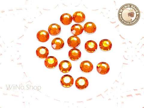 8mm Orange Fireopal Round Flatback Acrylic Rhinestone - 50 pcs