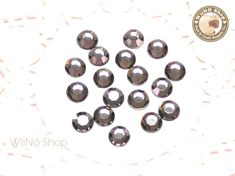 8mm Black Diamond Round Flatback Acrylic Rhinestone - 50 pcs