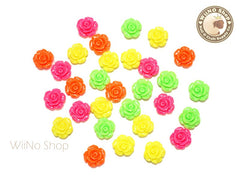 13mm Neon Rose Flower Cabochons Deco - 6 pcs  (choice of 4 colors)