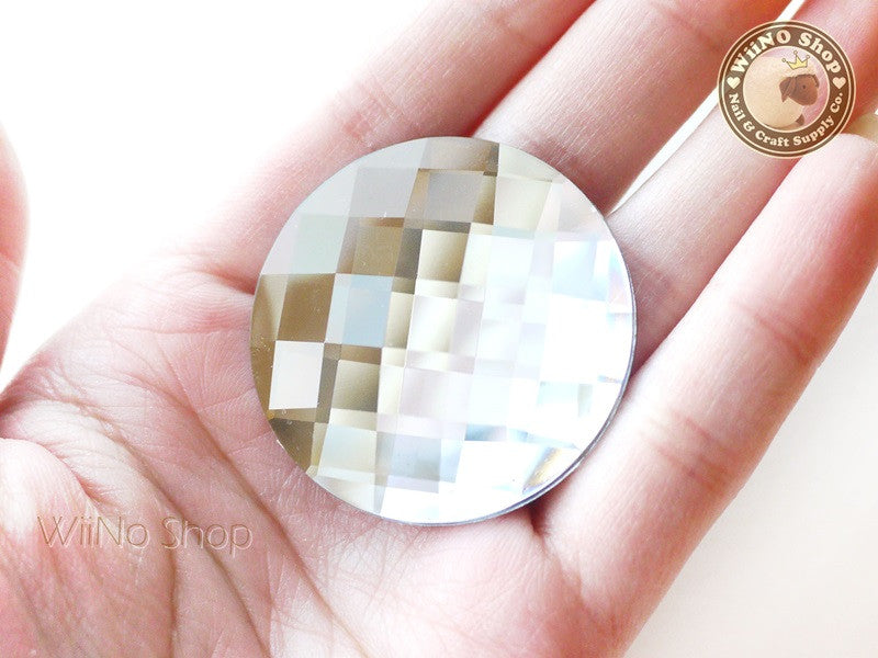 40mm Large Clear Round Square Cut Flat Back Acrylic Rhinestone - 1 pc