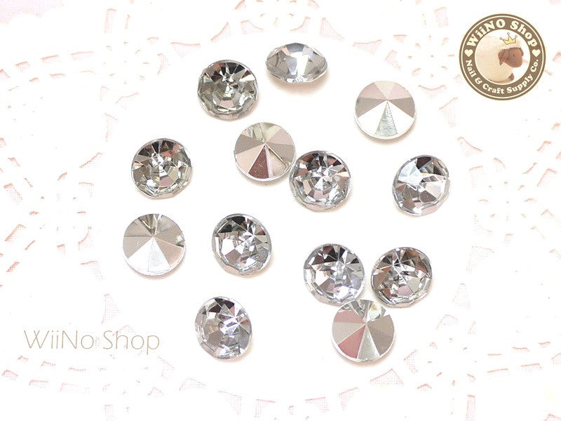 10mm Clear Round Diamond Style 3D Point Back Acrylic Rhinestone - 10 pcs