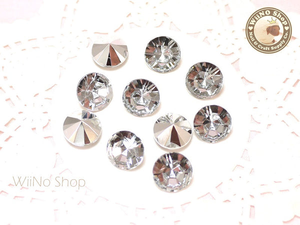 12mm Clear Round Diamond Style 3D Point Back Acrylic Rhinestone - 5 pcs
