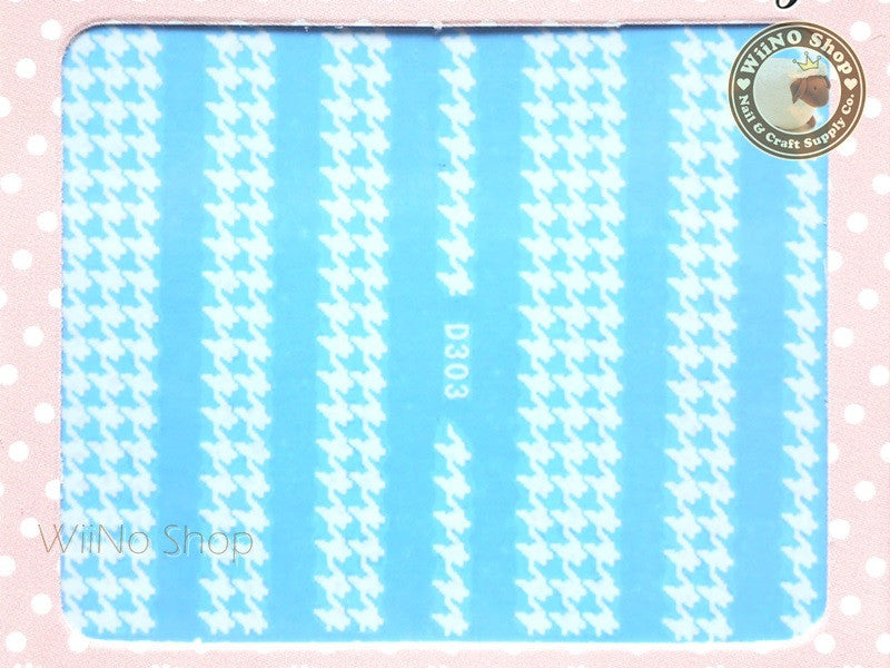 Houndstooth Pattern White Water Slide Nail Art Decals - 1pc (D303W)