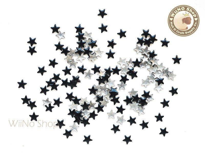 5mm Black Star Metal Studs - 100 pcs