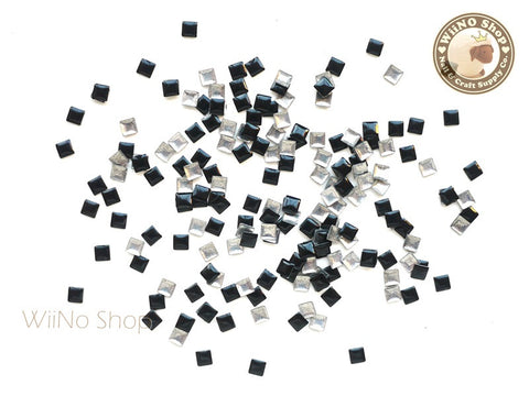 3mm Black Square Metal Studs - 100 pcs
