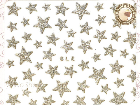 Glitter Star Light Gold Adhesive Nail Sticker Nail Art - 1 pc (BLE-LG)