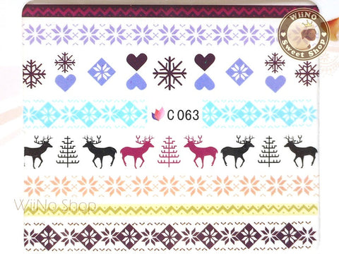 Reindeer Blue Winter Knit Style Pattern Water Slide Nail Art Decals - 1pc (C63)