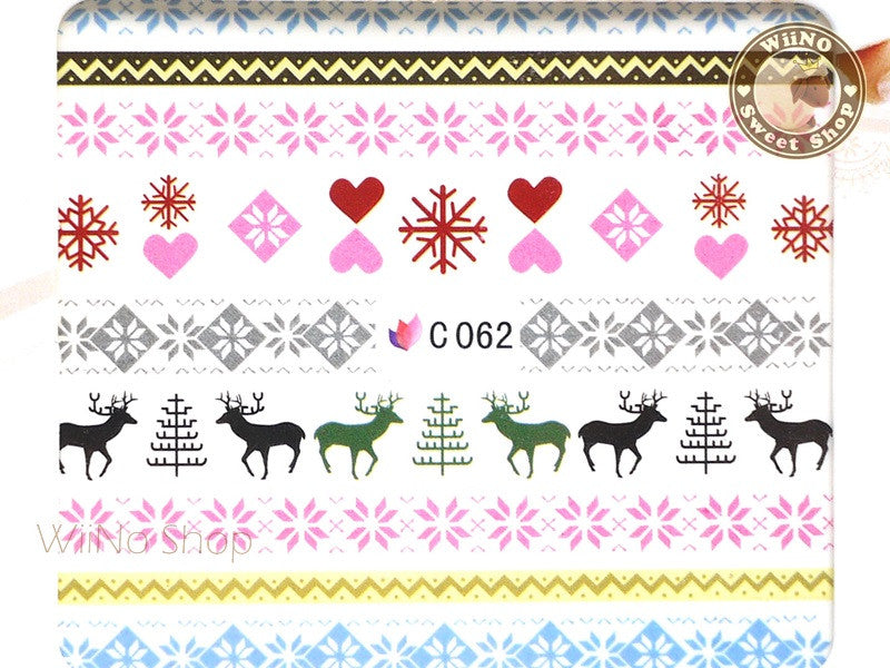 Reindeer Pink Winter Knit Style Pattern Water Slide Nail Art Decals - 1pc (C62)