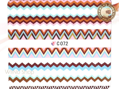 Multi Color Zigzag Pattern Water Slide Nail Art Decals - 1pc (C72)