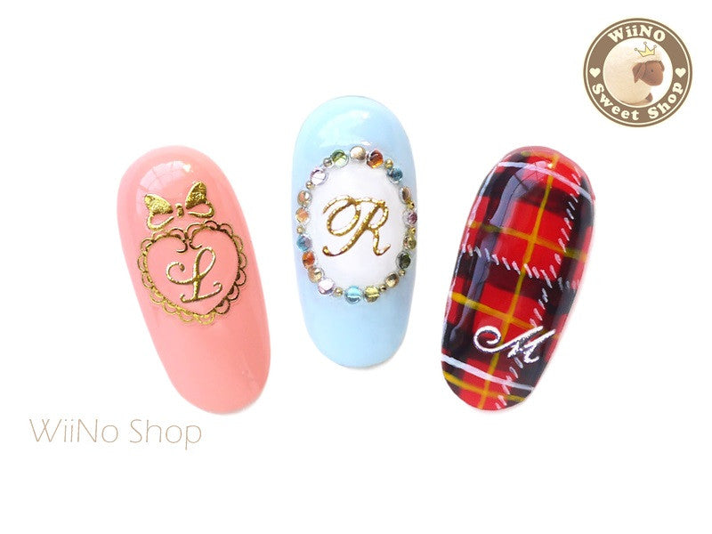 Silver Alphabet Initial Adhesive Nail Sticker Nail Art - 1 pc (TY037S-TY60S)