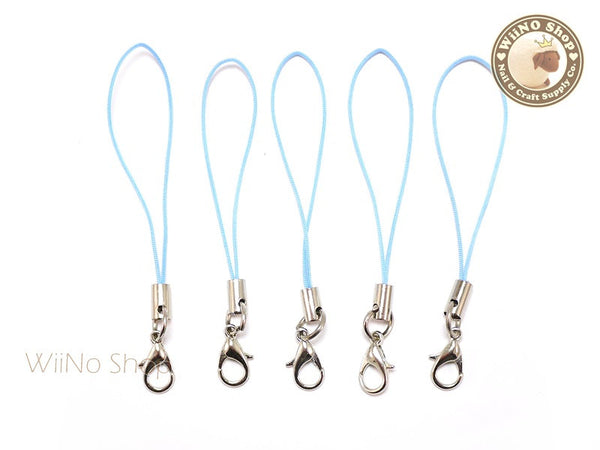 Light Blue Strap Cell Phone Strap with Silver Lobster Clasp - 5 pcs