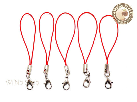 Red Strap Cell Phone Strap with Silver Lobster Clasp - 5 pcs