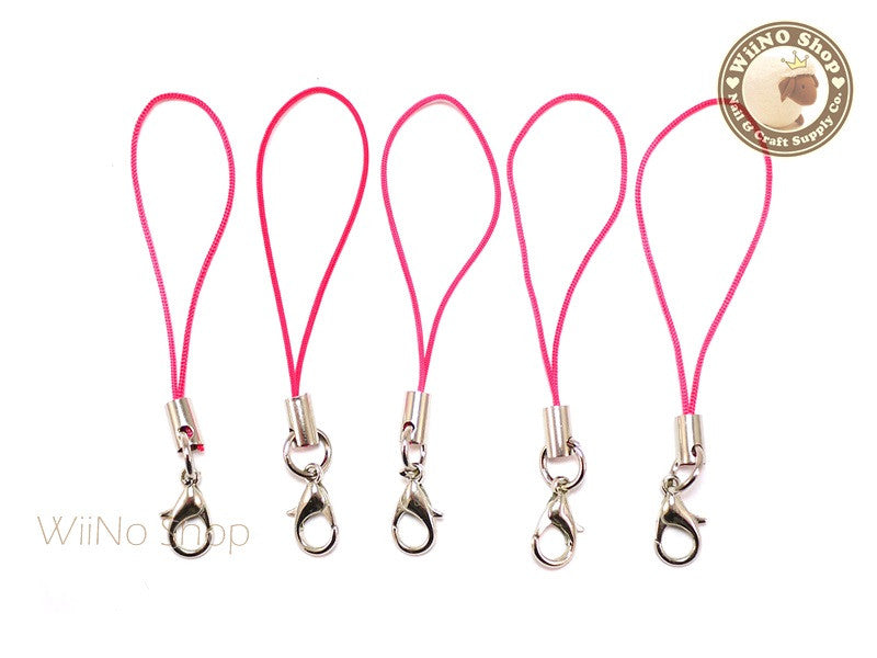 Fuchsia Hot Pink Strap Cell Phone Strap with Silver Lobster Clasp - 5 pcs