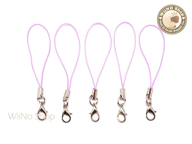 Light Purple Strap Cell Phone Strap with Silver Lobster Clasp - 5 pcs
