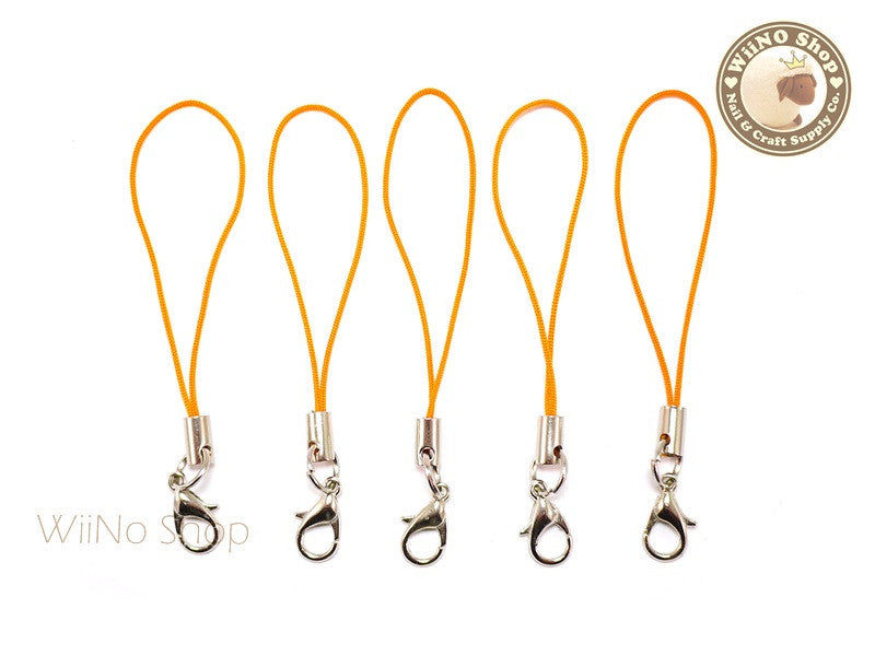 Orange Strap Cell Phone Strap with Silver Lobster Clasp - 5 pcs