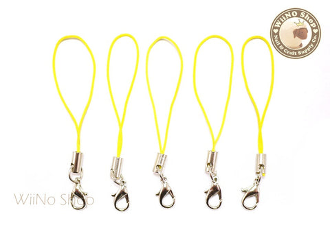 Yellow Strap Cell Phone Strap with Silver Lobster Clasp - 5 pcs