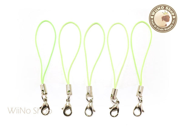 Light Green Strap Cell Phone Strap with Silver Lobster Clasp - 5 pcs