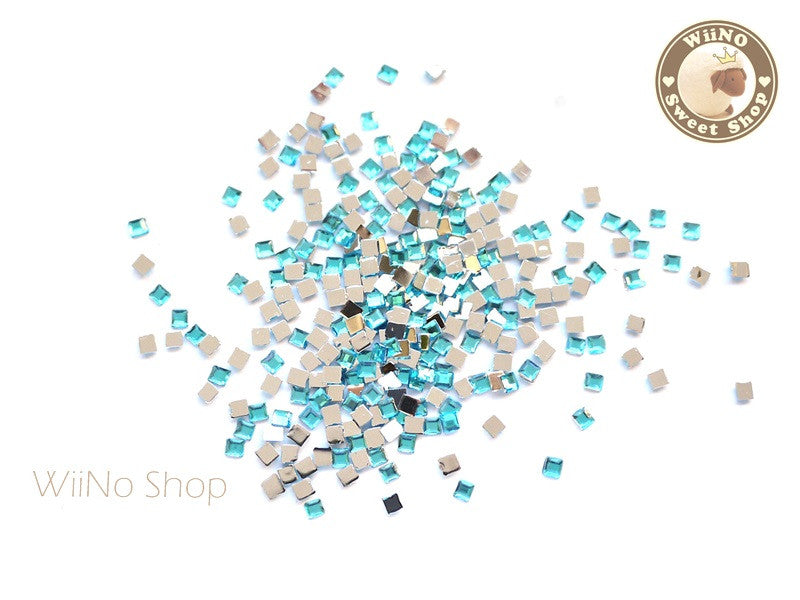 2mm Blue Aquamarine Square Flatback Acrylic Rhinestone Nail Art - 100 pcs