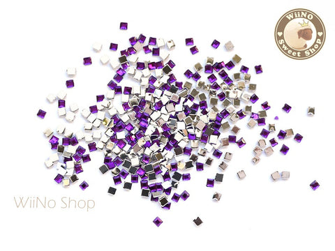 2mm Purple Violet Square Flatback Acrylic Rhinestone Nail Art - 100 pcs