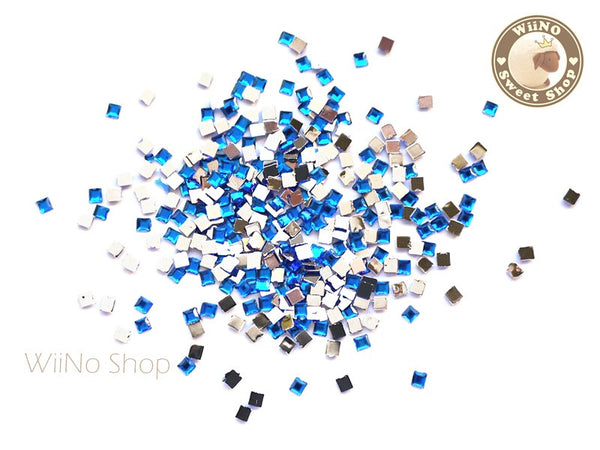 2mm Royal Blue Cobalt Square Flatback Acrylic Rhinestone Nail Art - 100 pcs