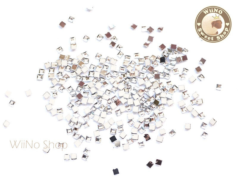 2mm Clear Square Flatback Acrylic Rhinestone Nail Art - 100 pcs