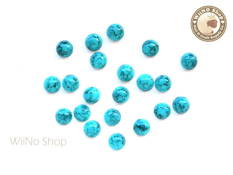 5mm Half Round Light Turquoise Flat Back Acrylic Cabochon Nail Art - 15 pcs