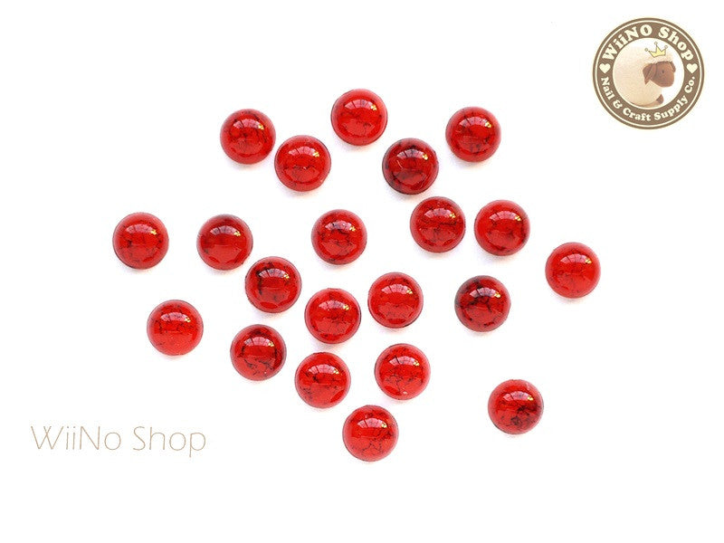 6mm Half Round Red Turquoise Flat Back Acrylic Cabochon Nail Art - 15 pcs
