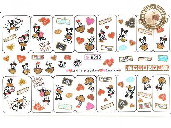 Mickey Minnie Love Heart Valentine's Day Glitter Water Slide Nail Art Decals - 1pc (W090)