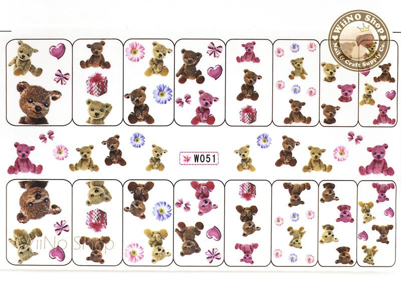 Cute Teddy Bear Water Slide Nail Art Decals - 1pc (W051)