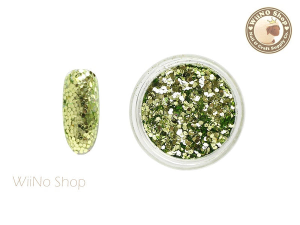 Chartreuse Green Hexagon Mixed with Glitter Dust Powder / Sparkle Powder / Nail Art Craft (A11)