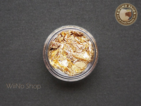 Gold Foil Leaf Flakes Nail Art Tips Decoration - 1 jar