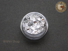 Silver Foil Leaf Flakes Nail Art Tips Decoration - 1 jar
