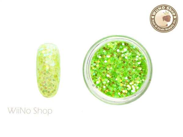 Fluorescent Green Neon Hexagon Mixed with Glitter Dust Powder / Sparkle Powder / Nail Art Craft (A15)