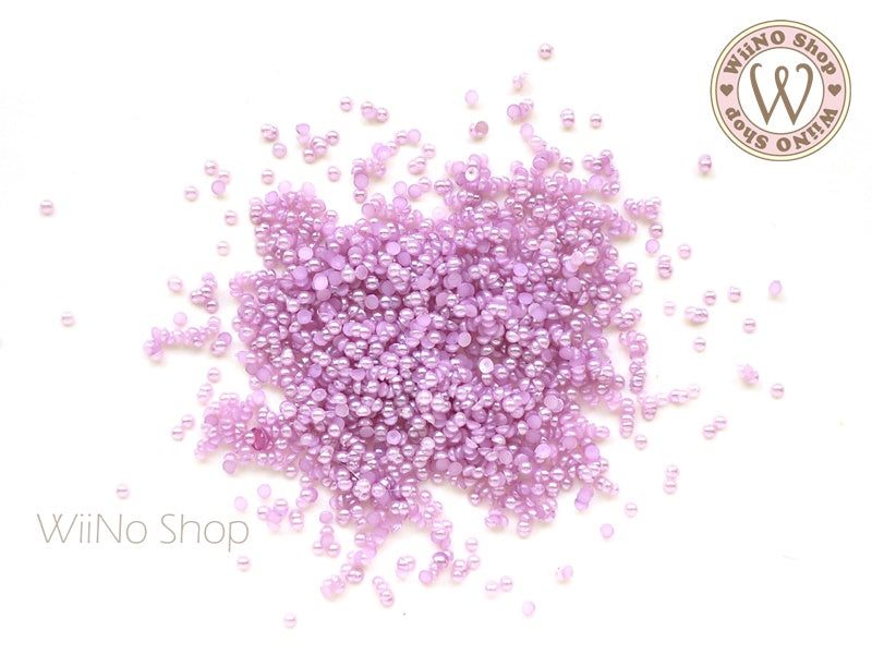 1.5mm Purple Half Pearl Flat Back Acrylic Rhinestone Nail Art - 200 pcs