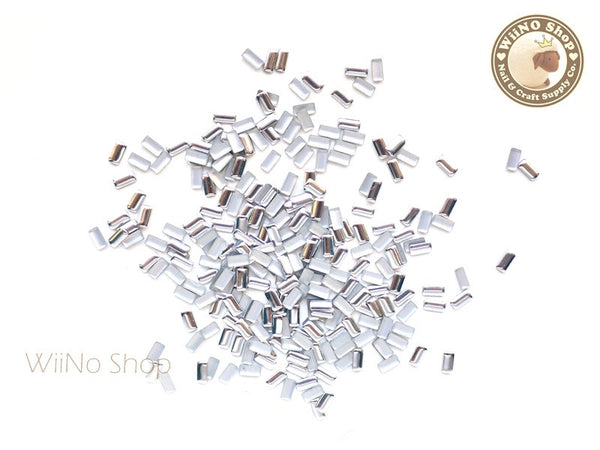 2 x 4mm Silver Rectangle Metal Studs Nail Art - 100 pcs