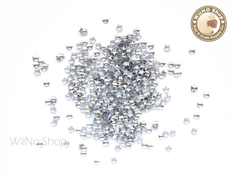 3mm Silver Star Metal Studs - 100 pcs