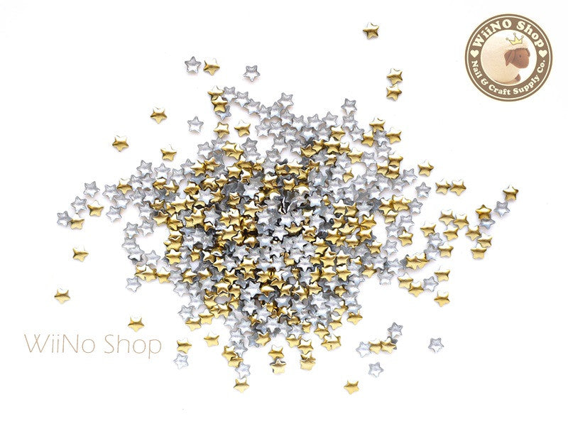 3mm Gold Star Metal Studs - 100 pcs
